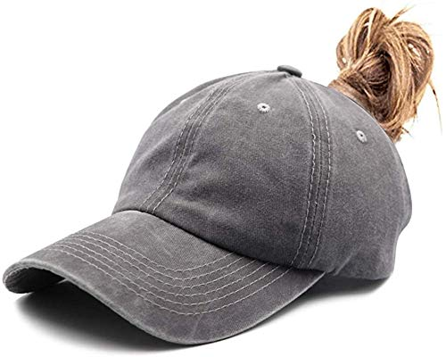 Waldeal Men's Plain Baseball Cap Distressed Washed Dad Hat with Ponytail Hole Grey