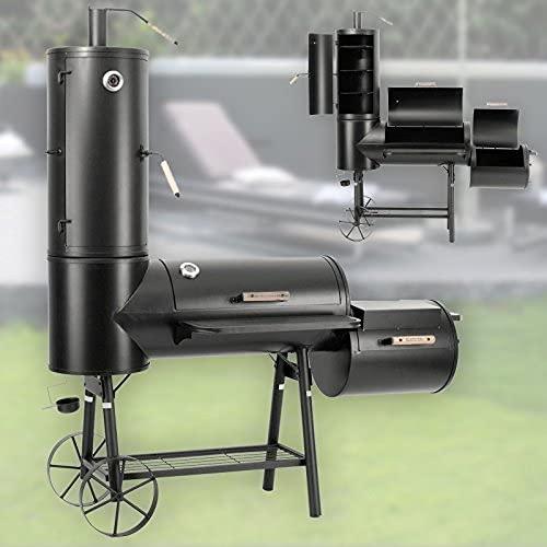 Profi Smoker Grillwagen Holzkohle Stahl BBQ Grill 90 kg Smoker + Abdeckhaube