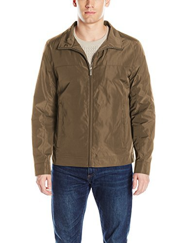 Perry Ellis Men's Poly Zip Front Packable Jacket, Thyme, XXL