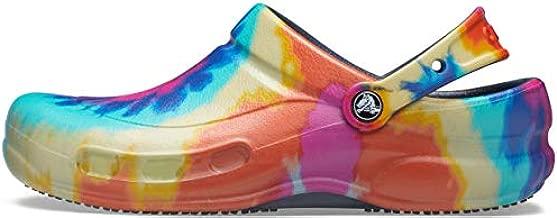 Crocs Unisex Men's and Women's Bistro Clog | Slip Resistant Work Shoes, Tie Dye/Navy, 8 US