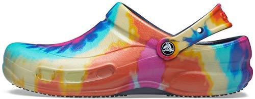 Crocs unisex adult Bistro | Slip Resistant Work Shoes Clog, Tie Dye/Navy, 6 Women 4 Men US