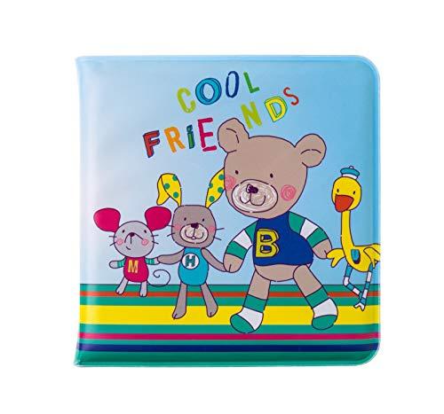 Rotho Babydesign Livre de Bain Amis Cools, Avec Siffleur Intégré, À partir de 6 mois, Bleu/Multicolore, 47002