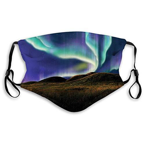 Bandana multifonctionnel pour homme et femme - Imprimé 3D - Respirant - Protection contre la poussière - Motif prairie d'Alaska dans la nuit avec aurore boréale naturelle