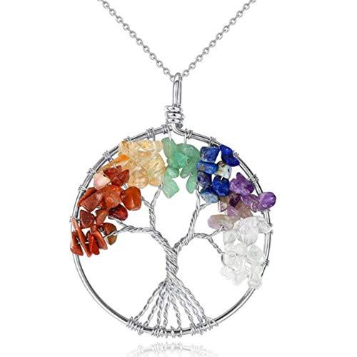 IzuBizu London - Collar de plata de ley 925 con diseño de árbol de la vida con moneda de la suerte, en caja de regalo