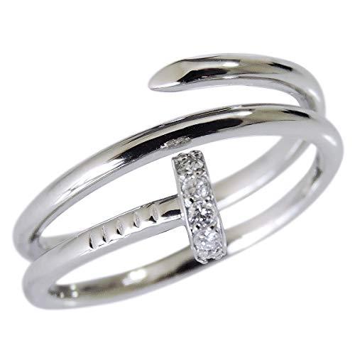 真珠の杜 ダイヤモンド K18ホワイトゴールド 釘 くぎ モチーフ T字 2重螺旋 diamond ダイヤ ネイル ねじり リング レディース 15号