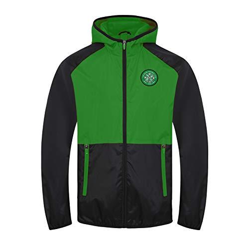 Celtic FC Official Gift Boys Shower Jacket Windbreaker Black Green 2-3 Years