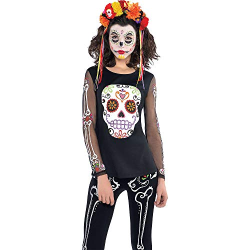 amscan- Day of The Dead Halloween T-Shirt, 844940-55, Multicolore, 8-12