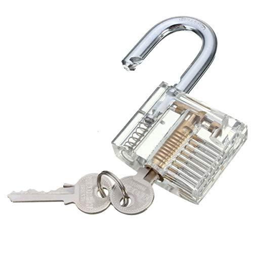 ILS - Transparentes Vorhängeschloss Cutaway mit offenem Querschnitt und Innenansicht Schloss Schloss für praktische Übungen und Handwerksübungen mit 2 Schlüsseln