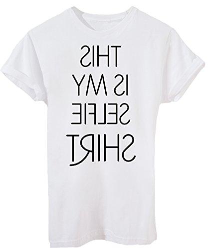 iMage T-Shirt Questa È La Mia T-Shirt Selfie - Divertente - Donna-S-Bianca