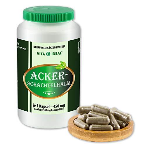 VITAIDEAL ® Ackerschachtelhalm (Equisetum arvense, Schachtelhalm, Zinnkraut) 180 Kapseln je 450mg, aus rein natürlichen Kräutern, ohne Zusatzstoffe