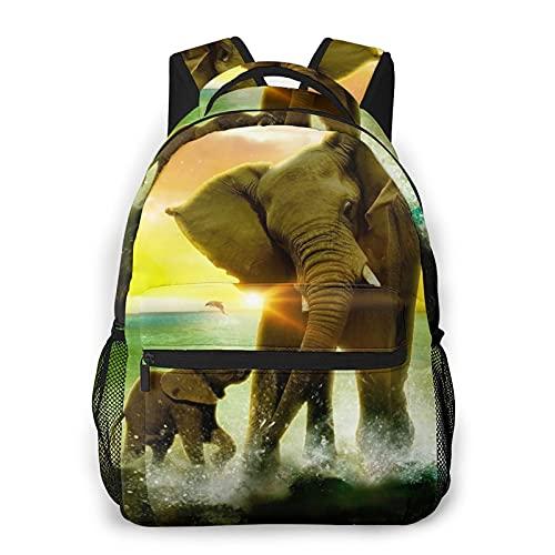 Mochila para portátil de viaje,familia de elefantes salvajes jugando al agua en la orilla del mar con un colorido telón de fondo de salida del sol,mochila antirrobo resistente al agua para empresas