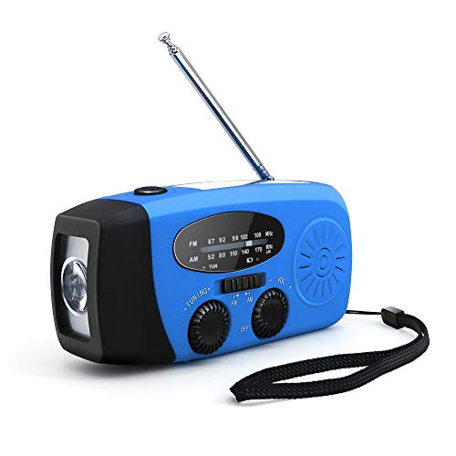 多機能 コンパクト防災ラジオ 手回し発電 ソーラー発電対応 AM/FM スマホ充電 バッテリー駆動 (ブルー)