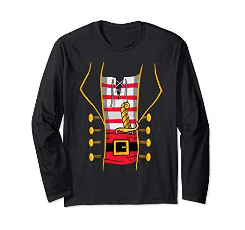 Pirate Costume Top for Halloween - Bucaneer Novelty Print Langarmshirt
