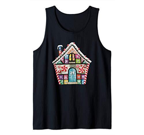 Calendario de Adviento Navidad casa de jengibre regalo Camiseta sin Mangas