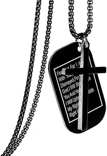 LBBYMX Co.,ltd Collar Estilo Militar Etiquetas de Perro Christian Lords Prayer Bible Verse Cross Colgante Collar para Hombres y Mujeres Gargantilla de Acero Inoxidable