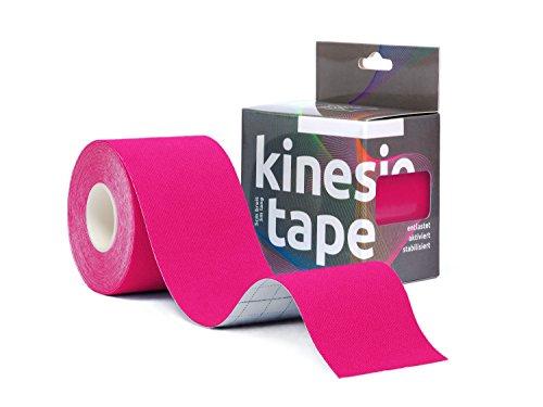 Sportsment Kinesiotape für Sport, Freizeit und Physiotherapie inkl. gratis E-Book (elastisch, hautverträglich, selbstklebend, belastbar, wasserfest) 5 cm x 5 m [Pink]