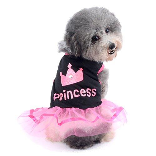 Ranphy Kleiner Hund Katze Rock Chihuahua Kleidung für Mädchen Krone Prinzessin Kleid Puppy Shirt Sommer, Rosa und Weiß