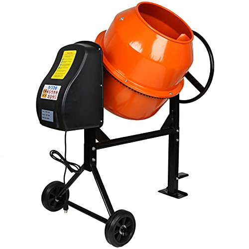 FYYF Cement Mixer, 3-1/2 Cubic Ft. 2/3 HP 120V Portable Electric Concrete Mixer Machine with 7 in Wheels for Handling Cement, Mortar, Stucco, 1-Year Warranty
