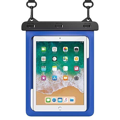 """HeySplash Universal Waterproof Tablet Case, Underwater Tablet Dry Bag with Lanyard Compatible with iPad Mini 2019/4/3/2, Samsung Galaxy Tab E, Tab S3, Fire HD 8, Fire 7, Up to 10"""" - Blue"""
