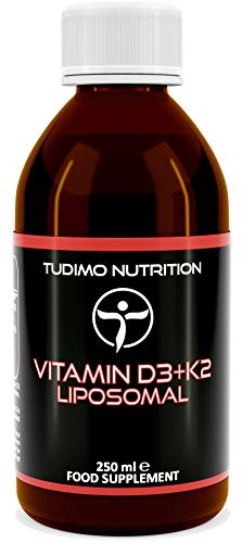 Liposomal Vitamin D3 + K2 | 250ml of Liquid Cholecalciferol (1000 IU) and Menaquinone (100mcg) Encapsulated in Micro Liposomes from Sunflower Lecithin | Soy Free | Alcohol Free | GMO Free