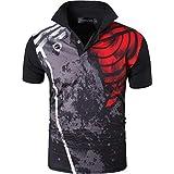 jeansian 男性用 ファッショ メンズ Tシャツ ポロシャツ 半袖 速乾性 LSL252 Black XL