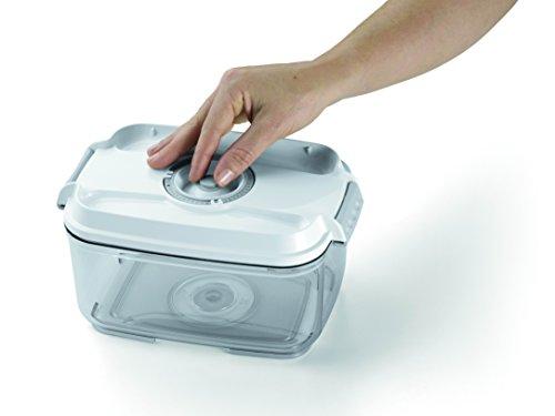 Laica Fresco Più VT3302 Set Due Contenitori Sottovuoto per Alimenti, Manuali, 0.5 L e 2 L,  Bianco/Trasparente