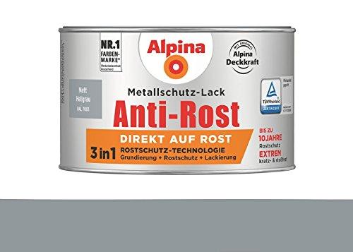 Alpina 300 ml Metallschutz-Lack, 3in1 Direkt auf Rost, RAL 7001 Hellgrau Matt