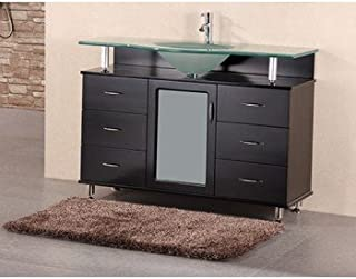 Design Element Huntington Single Drop-In Sink Vanity Set with Integrated Tempered Glass Countertop, 48-Inch