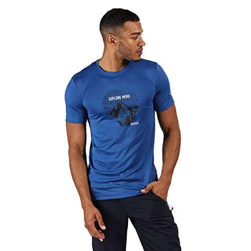 Regatta Fingal V' Quick Drying Active Short Sleeve Printed T-Shirts/Polos/Vests Men's, Nautical Blue, S