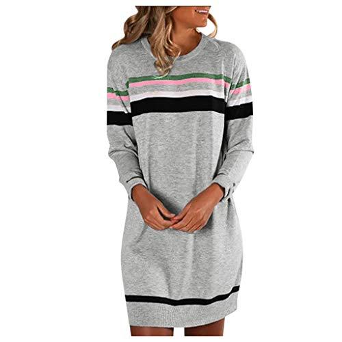 Sweatkleid Damen Langarm Gestreift Long Pullover Kleid,Kanpola LäSsige Rundhals Shirtkleid Herbst Kleider