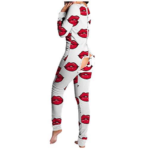 Jumpsuit Schlafanzug Damen Sexy Tiefer V-Ausschnitt Pyjama-Overall mit Po-Klappe Einteiler Onesie Jumpsuit Funktionale Geknöpfte Klappe Beiläufig Erwachsene Komfortables und stilvolles Design