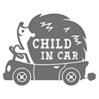 imoninn CHILD in car ステッカー 【シンプル版】 No.37 ハリネズミさん (シルバーメタリック)