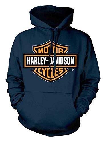 [(ハーレーダビッドソン) Harley-Davidson] [Men`s Orange Bar & Shield Navy Pullover Sweatshirt 30291742] (並行輸入品) [並行輸入品]