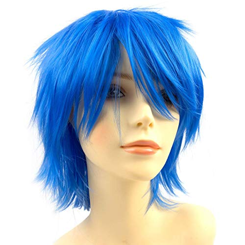 Modernfairy Anime Halloween Wig Blue for Cosplay Party, Synthetic Layered Short Hair Wigs with Bangs, Pastel Wigs for Women Men Kids