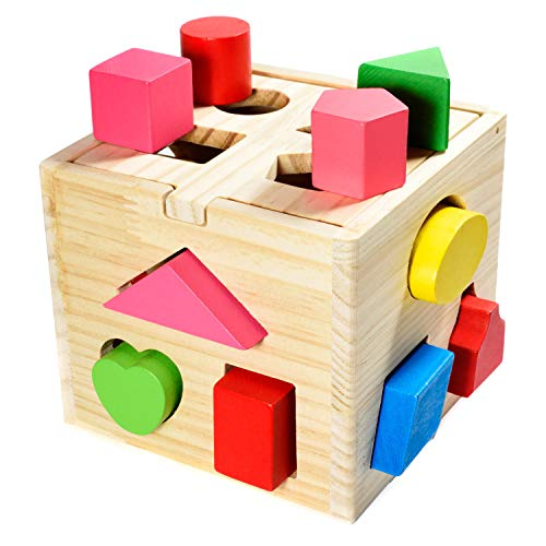 Steckwürfel aus Holz Spielzeug-Würfel-Puzzle Steckbox für Baby & Kleinkind; Holzspielzeug trainiert...