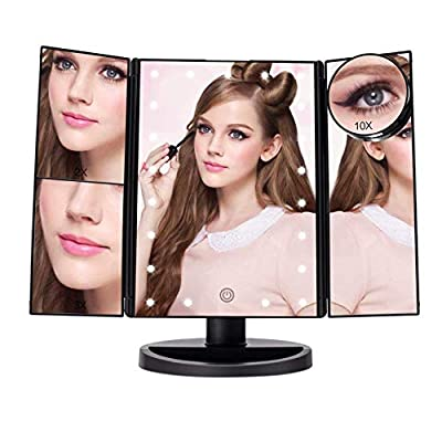 Fascinate Lighted Makeup Mirror with 21 LED Lights Touch Screen Dimming, Tri-Fold 3X/2X/1X Magnification 180 Degree Rotation Vanity Mirror