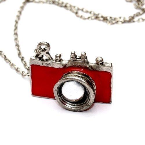 Preisvergleich Produktbild WeAreAwesome Kamera Halskette mit Fotoapparat - ca. 70cm lange Kette - Spiegelreflex Anhänger rot DSLR
