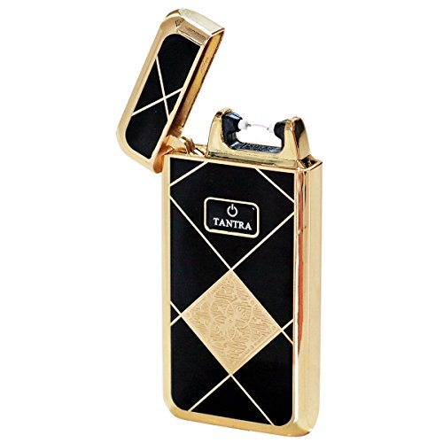 Prestige Import Group - Tantra Adonis Electronic Pulse Single Arch Windproof Flameless USB Charging Cigarette Lighter - Diamond Black & Gold