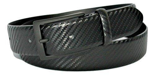 ITALOITALY Cintura in Vera Pelle Italiana, Nera, 3,5cm, Uomo, Donna, Effetto Carbonio, Made in Italy, Accorciabile (Girovita 115 cm = Lung. totale cm 130)
