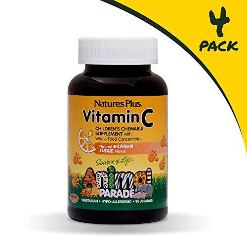 NaturesPlus Animal Parade Source of Life Vitamin C Childrens Chewable (4 Pack) - Natural Orange Juice Flavor - 90 Animal Shaped Tablets - Vegan, Vegetarian, Gluten-Free - 180 Total Servings