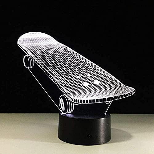 JYDNBGLS Geschenke für Frauen Scooter Modelo 3D Acrílico Monopatín Holograma Luz 3D Interruptor Táctil Luminaria Salón Decoración Regalo 7 Color Luz de Reemplazo