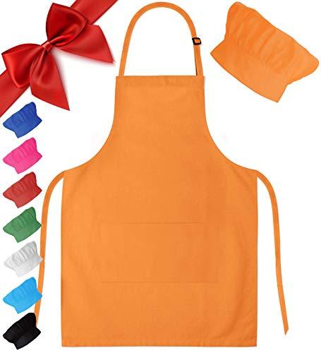Dapper&Doll Kids Apron and Chef Hat - Ages 4-10 - Orange