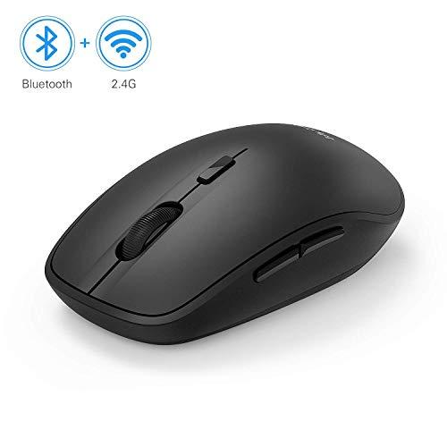 Jelly Comb Bluetooth und 2.4G Kabellose Maus, Dual Modus Funk Computermaus für Laptop/PC/Smart TV/Tablets/Handy, Schwarz