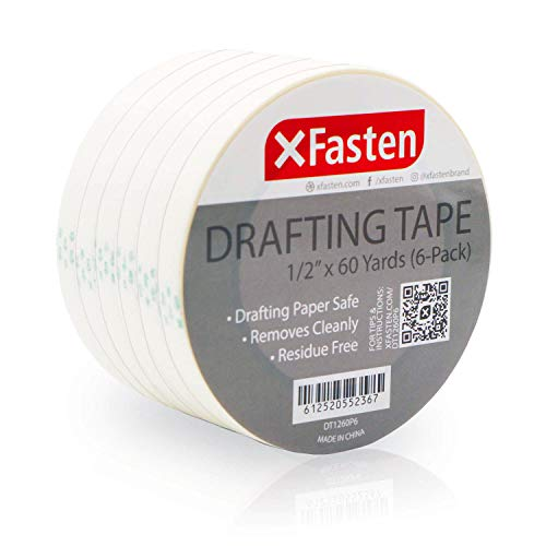 XFasten Artisan Grade Drafting Tape, 1/2 Inches x 60 Yards, Pack of 6 for Drafting and Arts & Crafts