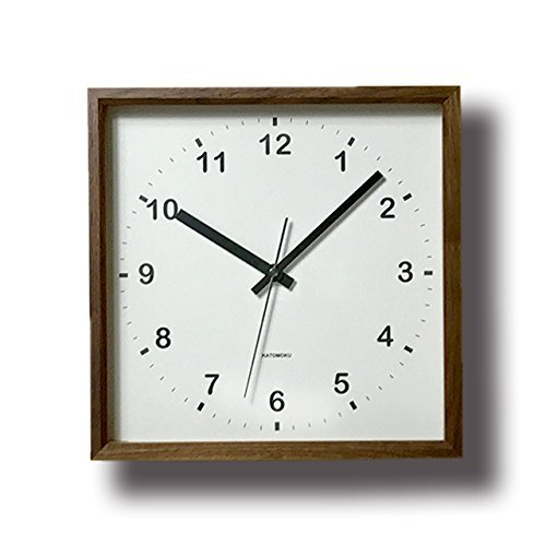 KATOMOKU muku square clock km-37BRC 木 ウォールナット 電波時計 連続秒針 (クォーツ時計)