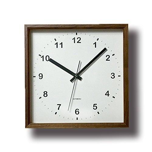 KATOMOKU muku square clock km-37B 木 ウォールナット 連続秒針