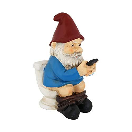 Raindeer Gartenzwerge im Freien, Resin Naughty GNOME Sitzen auf der Toilette, 5,1 Zoll Naughty Dwarf Garden GNOME Statue, Weihnachtsgarten Dekoration Geschenk für Yard Lawn