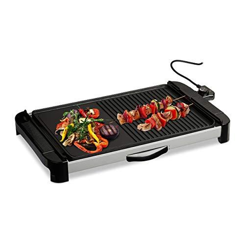 Relaxdays Plancha Cocina, Lisa y con Rayas, Grill Eléctrico 1800 W, Parrilla para Asar, Aluminio, 45 x 30 cm, Negro