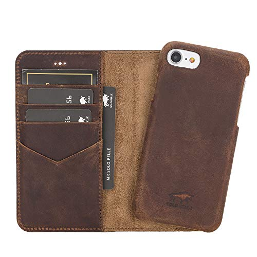 Solo Pelle iPhone SE (2020) & 7/8 abnehmbare Lederhülle (Ultra 2in1) inkl. Kartenfächer für das original iPhone SE (2020) & 7/8 (Vintage Braun) inkl. Edler Geschenkverpackung