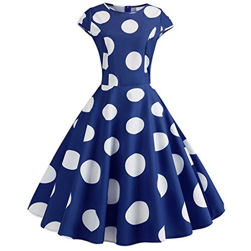 COZOCO Vestido de La Sra. Hermosa Punto, Elegante impresión de impresión Retro, Cintura y Vestido Grande(Armada,M